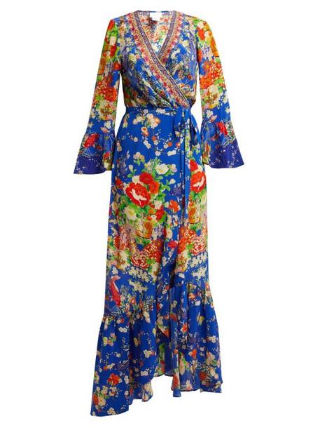 dress wrap dress print blue silk
