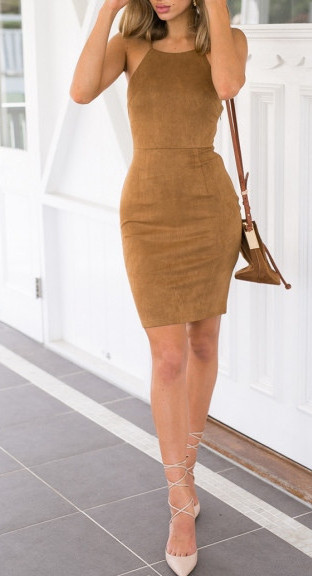 08ae377fe7ad Camel Halter Bodycon Dress – Outfit Made
