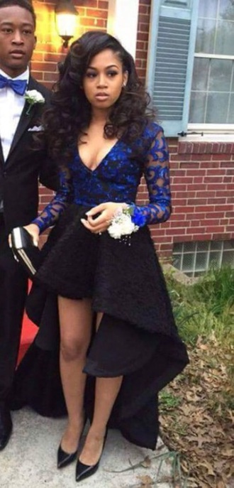 dress blue high low dress formal dress prom dress