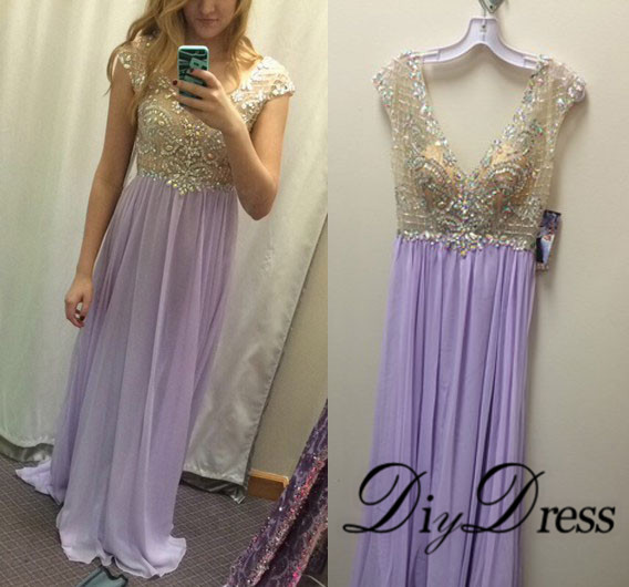 Neck lilac chiffon formal dresses apd1403 · diydressonline · online store powered by storenvy