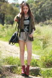chloe ting,coat,jewels,shorts,bag,t-shirt,shoes