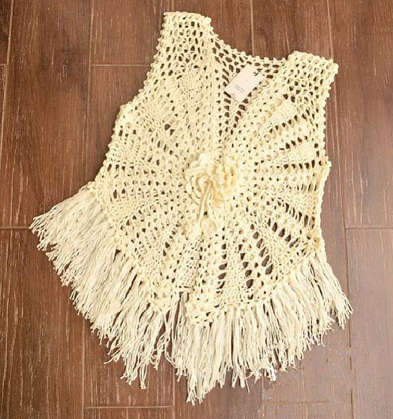 Crochet vest in cream Hippie fringe vest by Tinacrochetstudio
