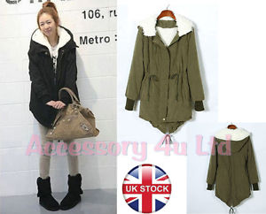 Women Ladies Winter Warm Casual Fur Parka Hoodie Coat Jacket Outwear--UK Seller | eBay