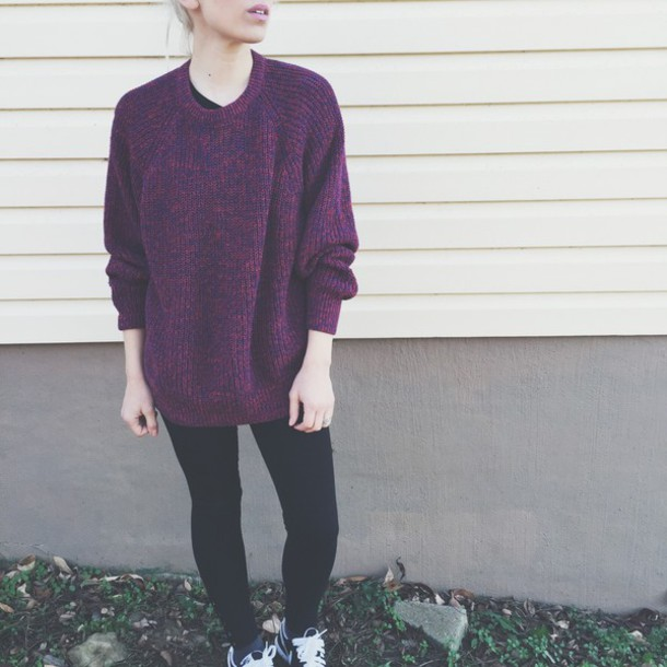 sweater wine red burgundy knitted sweater oversized sweater boyish