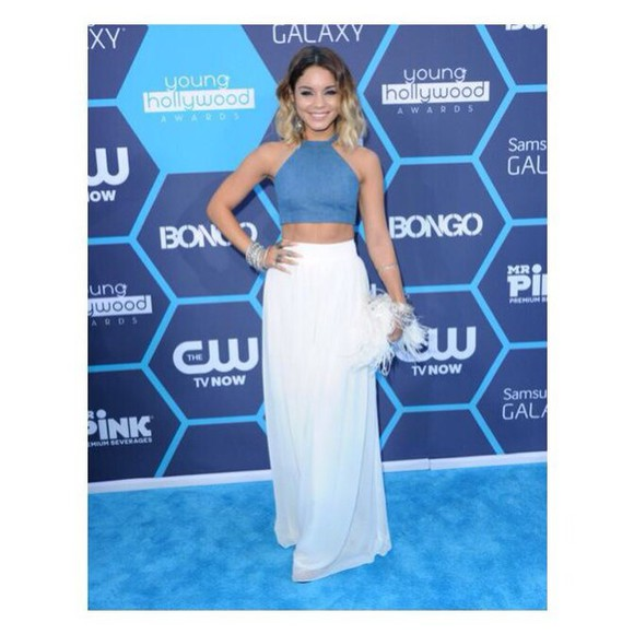 vanessa hudgens top skirt maxi skirt boho style maxi coachella crop halter halter neck celeb music awards blouse