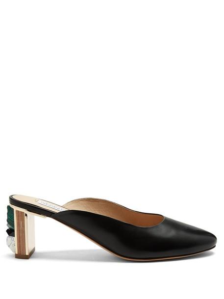 Gabriela Hearst embellished mules leather black shoes