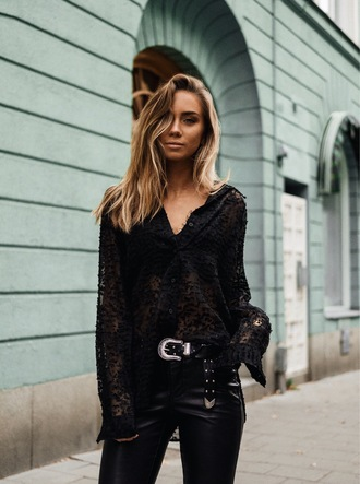 blouse tumblr black blouse top black top black lace top lace top pants black pants black leather pants leather pants belt western belt all black everything