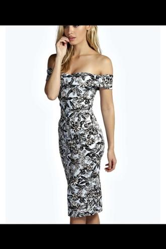 dress boohoo luna floral off the shoulder midi bodycon dress