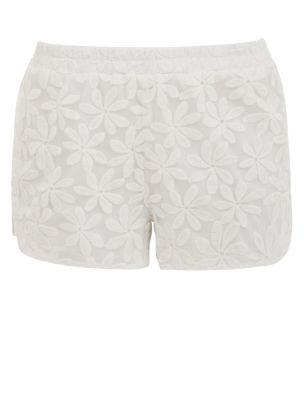 Parisian White Flower Lace Shorts