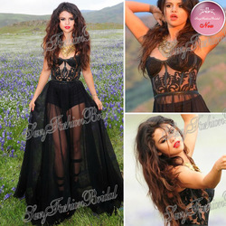 Online Shop 2013 Selena Gomez Dress Sexy Sweetheart See Through A-line Floor length Chiffon Celebrity Dresses|Aliexpress Mobile
