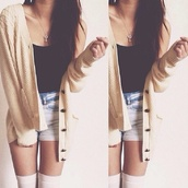 cardigan,clothes,long socks,short top,outfit,necklace,cream color,longsleevs,oversized,tan cardigan with buttons