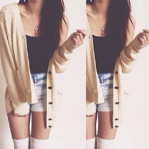 cardigan clothes long socks short top outfit outfit necklace cream color longsleevs oversized tan cardigan with buttons