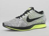 shoes,nike,nike running shoes,nike shoes,flyknit racer,grey,green,sportswear,sports shoes,sporty,fashion,sneakers