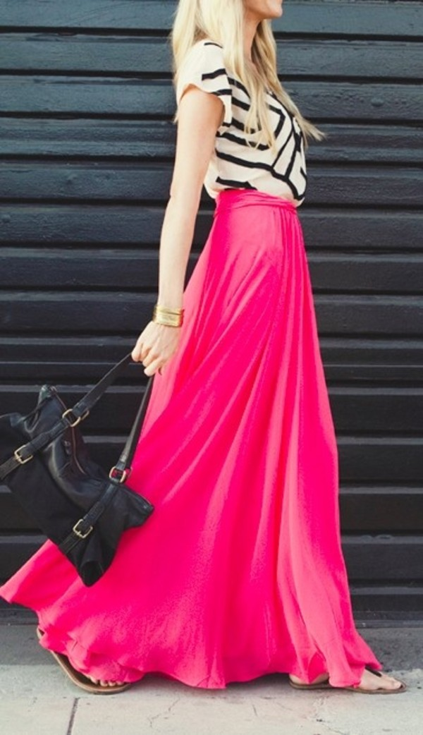 skirt shirt bag cuff bracelet pink maxi skirt hipster sandles black and white