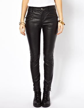 Free people vegan leather pants with zips at asos