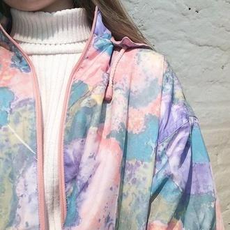 jacket raincoat rain jacket urban pastel pink pastel pink pastel pink soft grunge kawaii kawaii grunge pale t-shirt shirt coat vintage coach jacket colorful tie dye grunge cool blue white purple