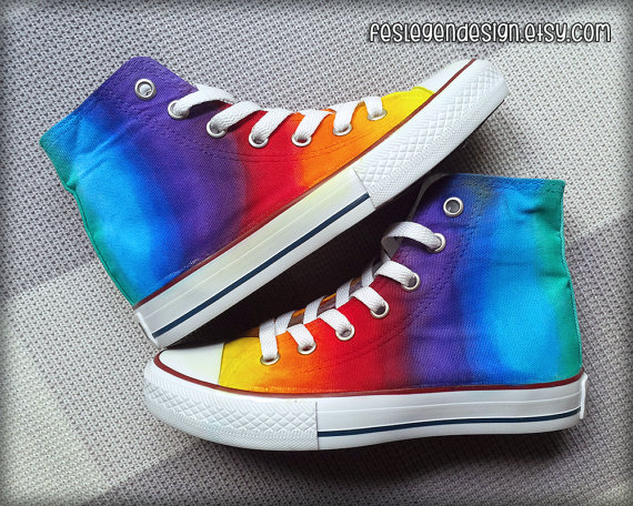 Rainbow custom converse / colorful painted shoes by feslegendesign