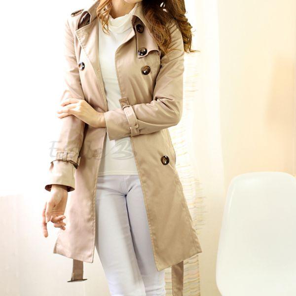 Women Double Breasted Long Trench Coat Jacket Outwear TOP M L XL | eBay