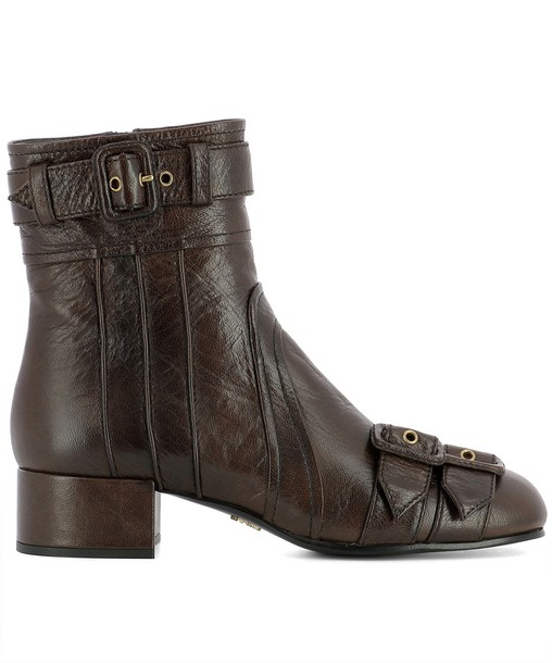 Prada leather ankle boots ankle boots leather brown shoes