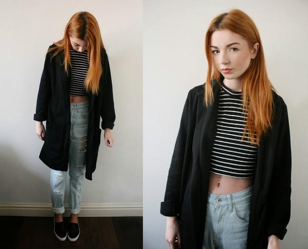 hannah louise fashion coat t-shirt jeans shoes