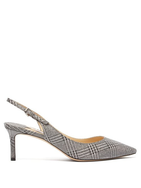 Jimmy Choo - Erin 60 Glitter Check Pumps - Womens - Silver