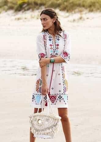 bag boho beach bag white