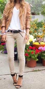 jeans,denim,beige,belt,heels,high heels,wedges,jacket,blouse,zip,top,necklace,jewels,style,classy,hot,polka dots,skinny pants,skinny jeans,black heels,platform shoes,denim jacket,t-shirt,crop tops,bracelets,streetwear,streetstyle