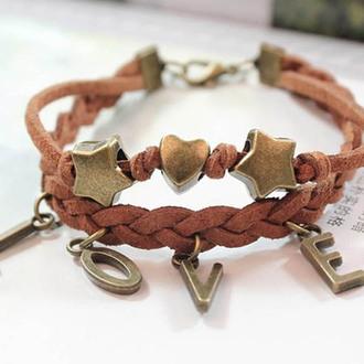 jewels charm bracelet leather bracelet fashion jewelry charm star heart adjustable adjustable bracelet