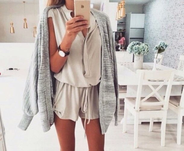 romper jumpsuit grey overalls white dress jacket cute romper and jacket cardigan skirt home accessory t-shirt beige tan colorful brand name fabric material pattern nice beautiful lovely watch jumper romper