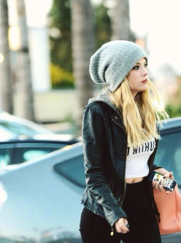 hat hat beanie ashley benson pretty little liars shirt jacket