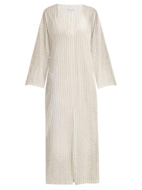 Raey - Kimono Sleeve Striped Sheer Cotton Beach Dress - Womens - White Stripe