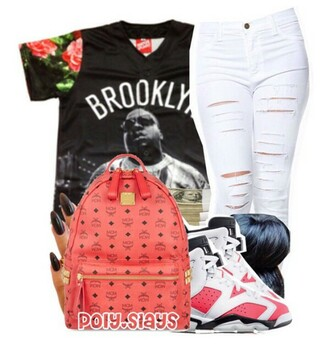 top pink black white cute mcm brooklyn jersey jordans shoes white pants cut  pants jeans