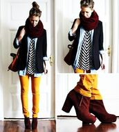 shoes,fall outfits,fall shoes,lemongrass,scarf,blouse,chevron,jeans,yellow jeans,shirt,navy suit jacket,striped top,denim shirt,red scarf,brown heeled boots,black and white stripes