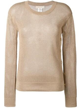 jumper metal mesh women nude cotton sweater
