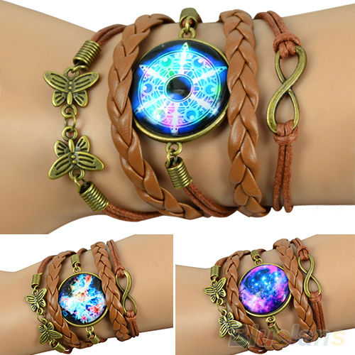 Women new popular retro galaxy pattern faux leather bracelet butterfly wristband