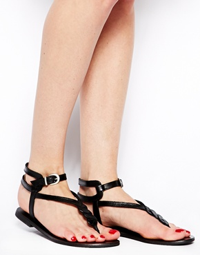 ASOS | ASOS FRAMED Leather Flat Sandals at ASOS