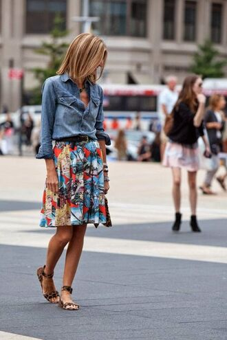 shoes printed sandals flat sandals sandals animal print skirt pleated skirt printed skirt shirt blue shirt denim shirt spring outfits