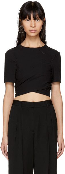 t-shirt shirt cropped t-shirt t-shirt cropped high draped black top