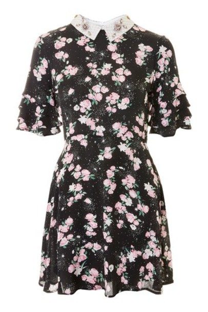 Topshop dress embellished tea black