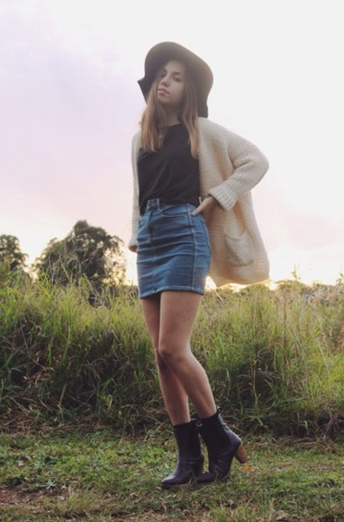 skirt short skirt cardigan denim denim shirt hat jeans blue skirt blue boots ankle boots blue denim