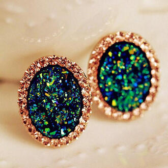 jewels studs stud earrings earrings gold earrings gold green earrings gold green stud earrings saphire green earrings