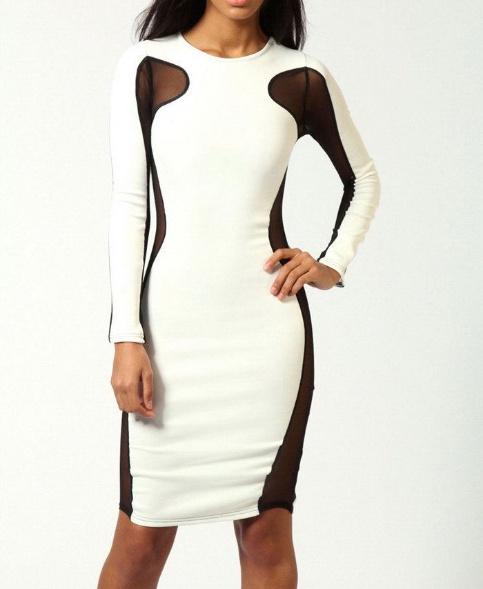 Sexy round collar voile splicing long sleeves bodycon dress for women (white,one size)