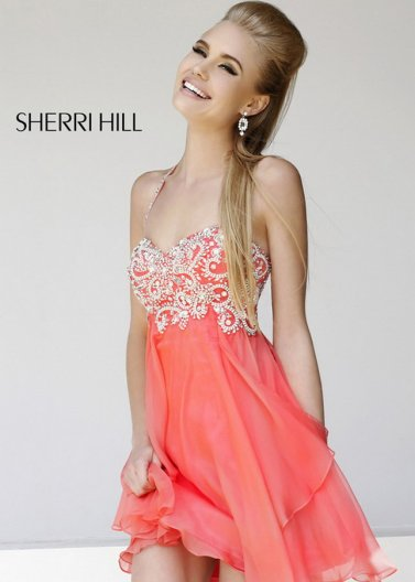 Coral Short Beaded Top Layered Halter Sherri Hill 3878 Party Dress [Sherri Hill 3878 Coral] - $178.00 : Prom Dresses 2014 Sale, 70% off Dresses for Prom