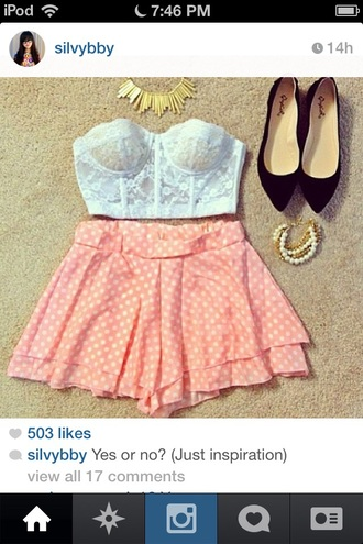 shorts white pink polka dots pink shorts lace instagram cute trendy style shirt
