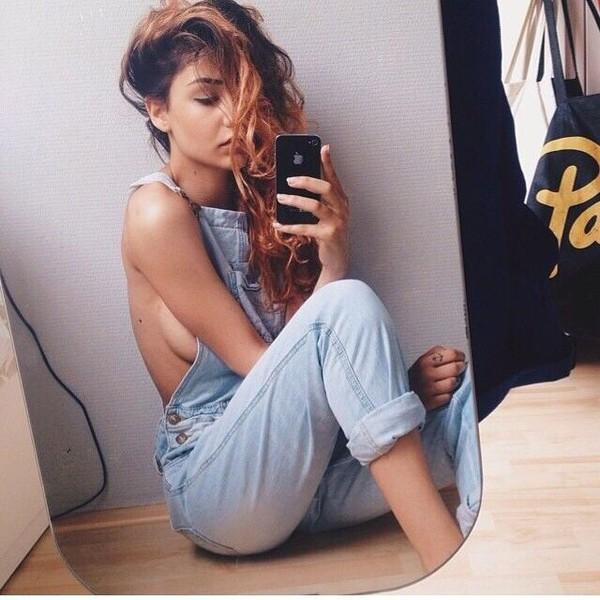 jeans light blue denim overalls romper denim overalls tumblr outfit