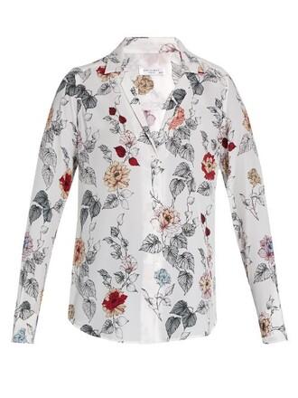 shirt floral print silk white top