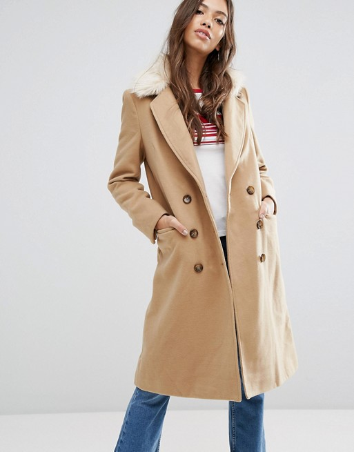 Brave Soul Ashwich Double Breasted Coat With Faux Fur Collar at asos.com