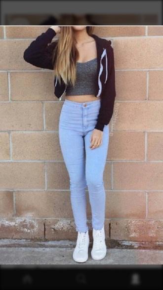 jacket boyfriend jeans black streetwear streetstyle crop tops tank top jeans