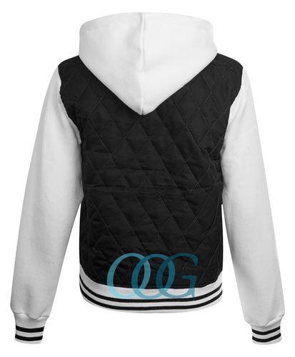 Womens Ladies R Varsity Diamond Quilted Padded Bomber Hoodie Hooded Jacket 8-16 | Amazing Shoes UK
