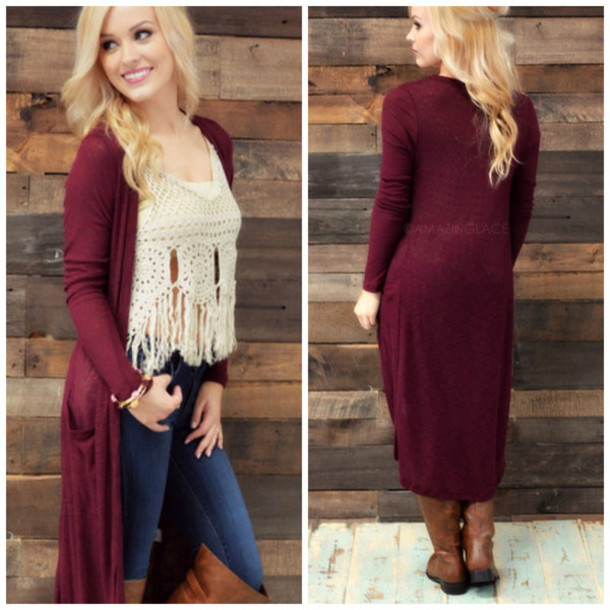 eb9ad3edea cardigan maxi maxi cardigan burgundy pockets fall outfits fall outfits  amazing lace fall cardigan preppy trendy